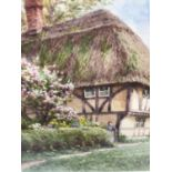 William Harford watercolour- cottage scene, signed, glazed frame, 17 x 13cm