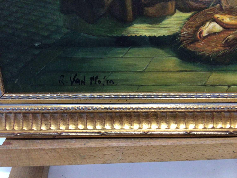 R, Van Molen, oil on panel, A moonlit scene in a Chinese market, in gilt frame. 36 x 30cm. - Image 3 of 4