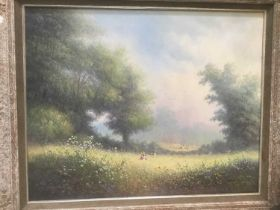 Paul Morgan (b. 1940) oil on canvas figures in a meadow