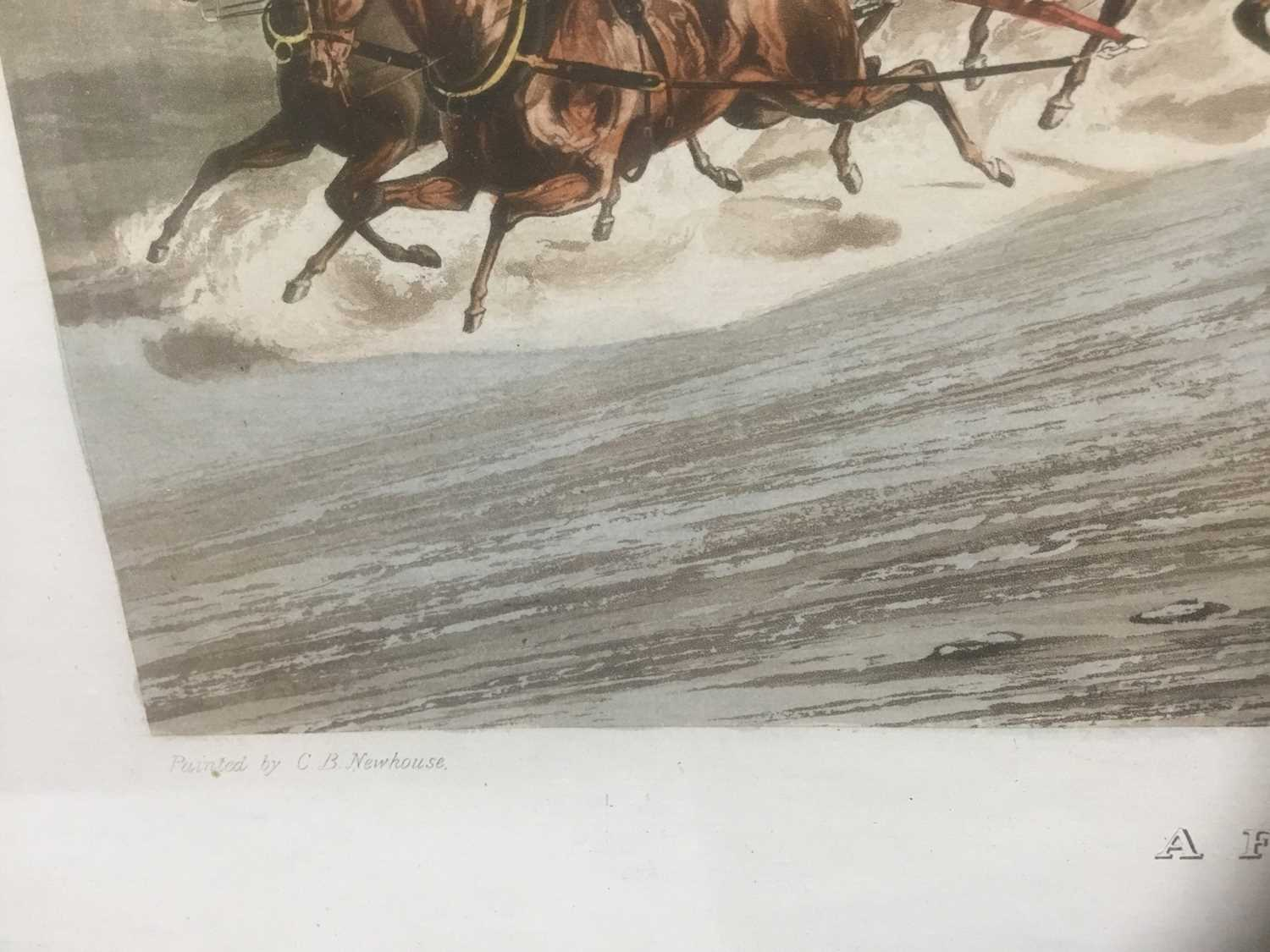 Pair of 19th century hand coloured aquatints by R. Reeves after C. Newhouse, coaching scenes entitle - Image 3 of 11