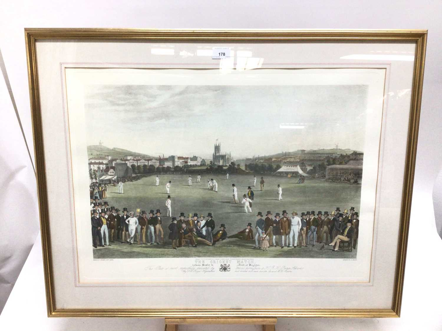 19th century-style coloured print - The Cricket Match between Sussex & Kent, at Brighton, 48cm x 66c - Image 2 of 8