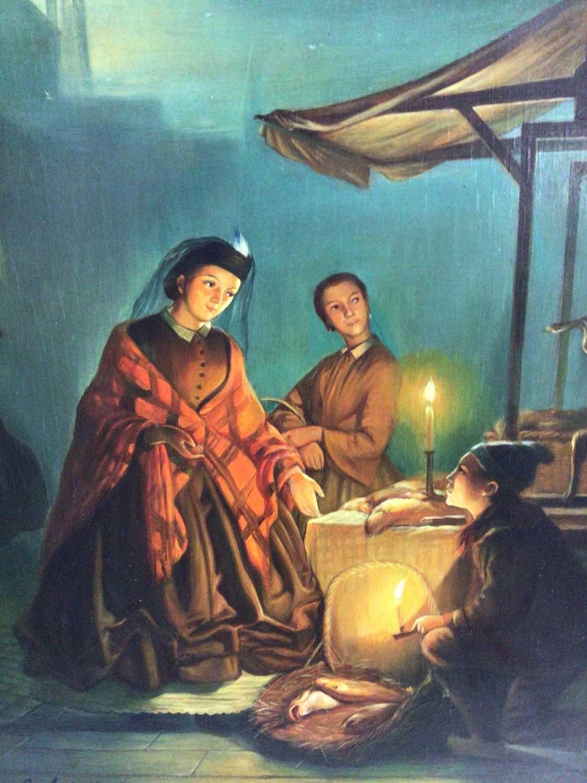 R, Van Molen, oil on panel, A moonlit scene in a Chinese market, in gilt frame. 36 x 30cm.
