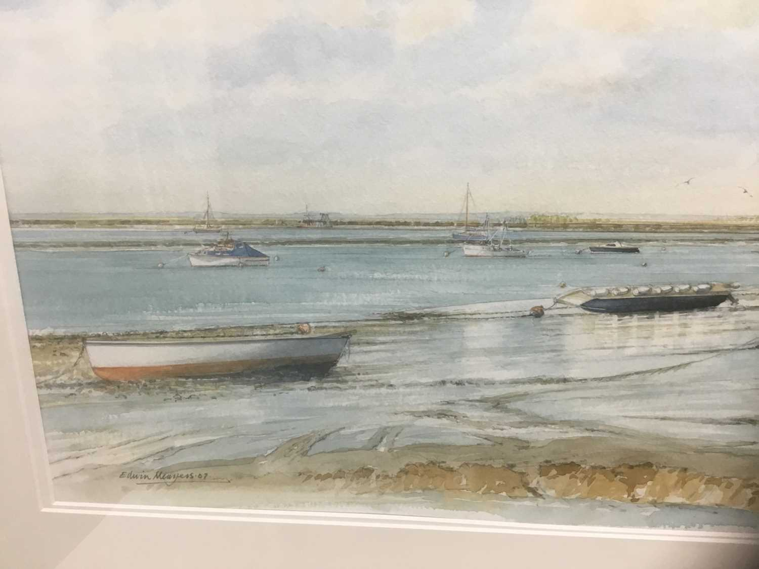 Edwin Meayers (b.1927) watercolour - West Mersea, signed, inscribed and dated '07, 42cm x 67cm, in g - Image 5 of 8