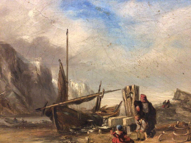 19th century oil on panel coastal scene