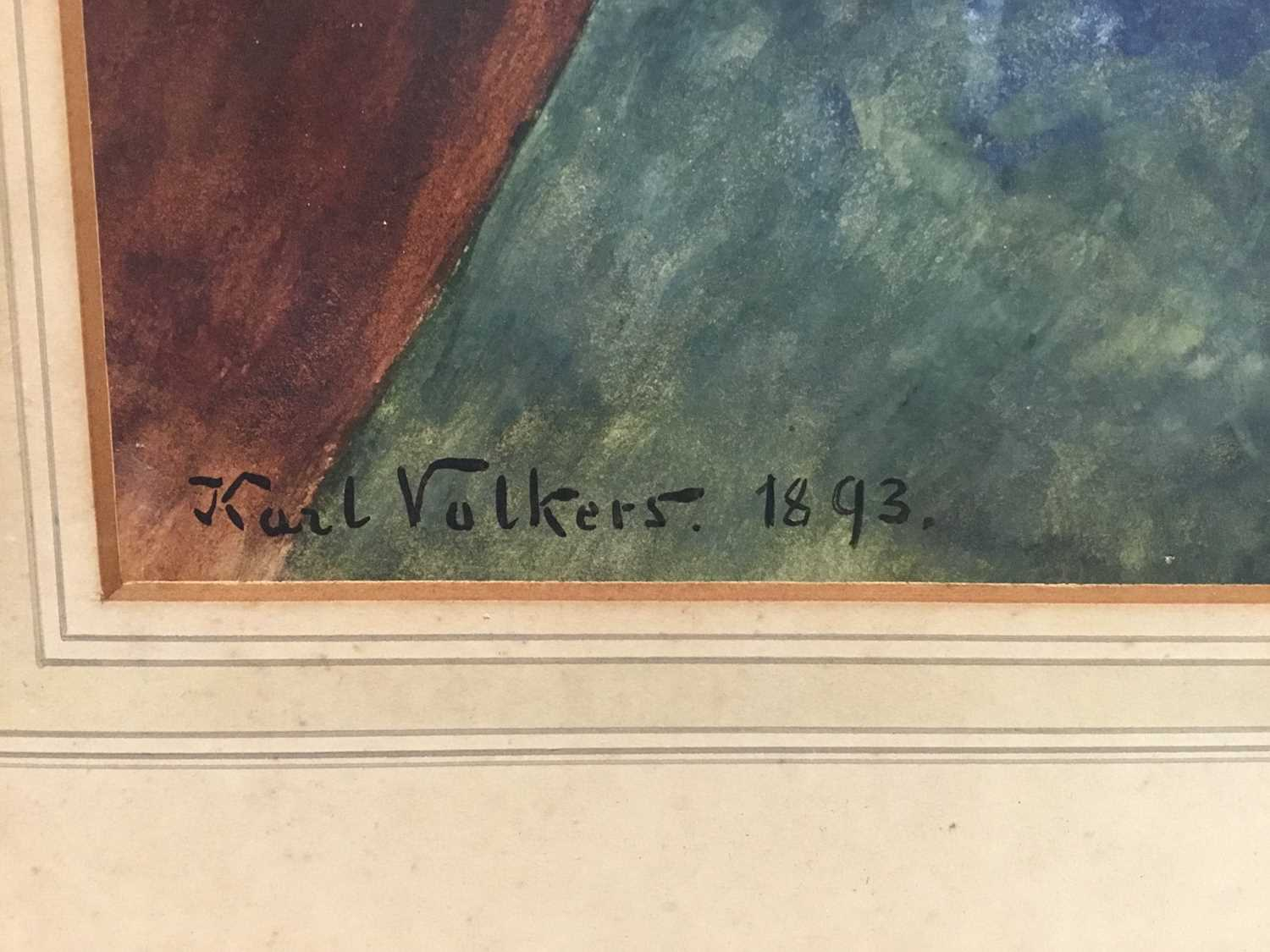 Karl Volkers (1868-1944), Gouache of horse, signed and dated 1893 - Image 2 of 5