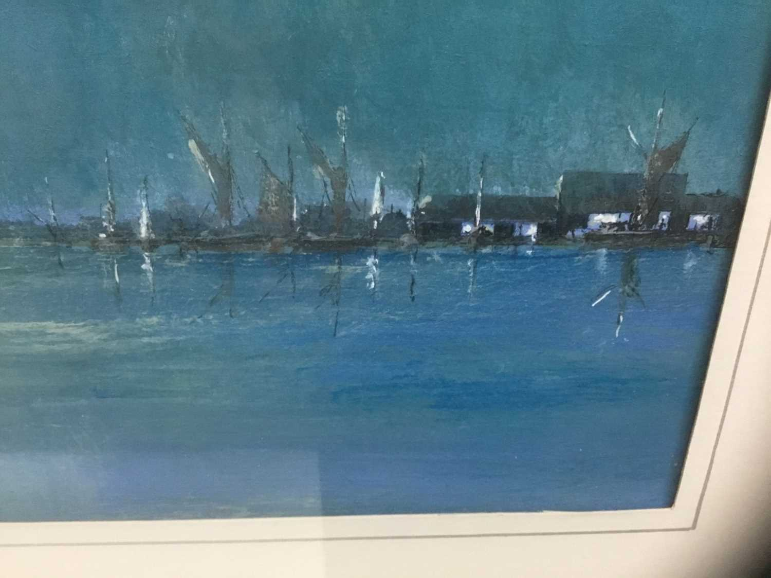 John Clarke, contemporary, oil on board - sailing barges, signed, 25cm x 36cm, in glazed frame - Image 4 of 7