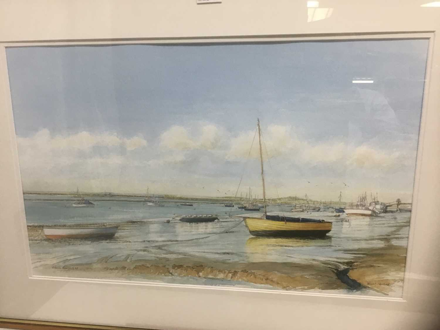 Edwin Meayers (b.1927) watercolour - West Mersea, signed, inscribed and dated '07, 42cm x 67cm, in g