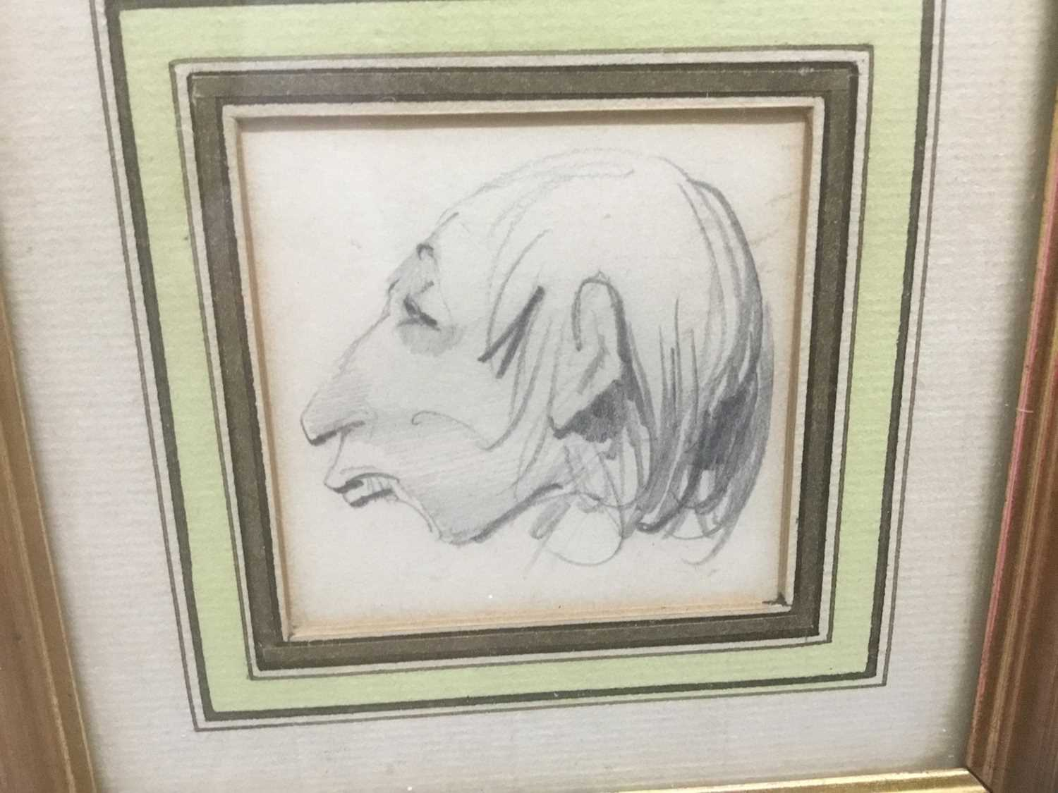 Henry Bonaventure Monnier (1805-1877) three pencil sketch caricatures of figures, tow signed, 14.5cm - Image 3 of 9