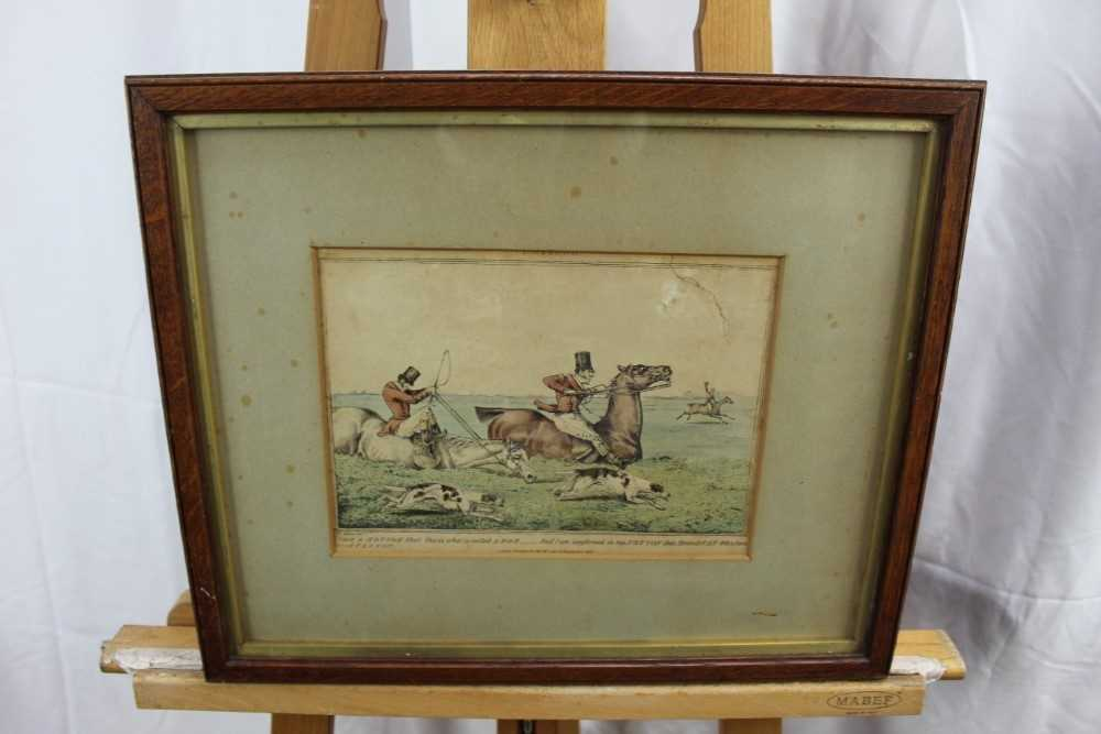Henry Alken set of five early 19th century coloured prints - Notions, published 1831, in glazed oak - Image 14 of 14