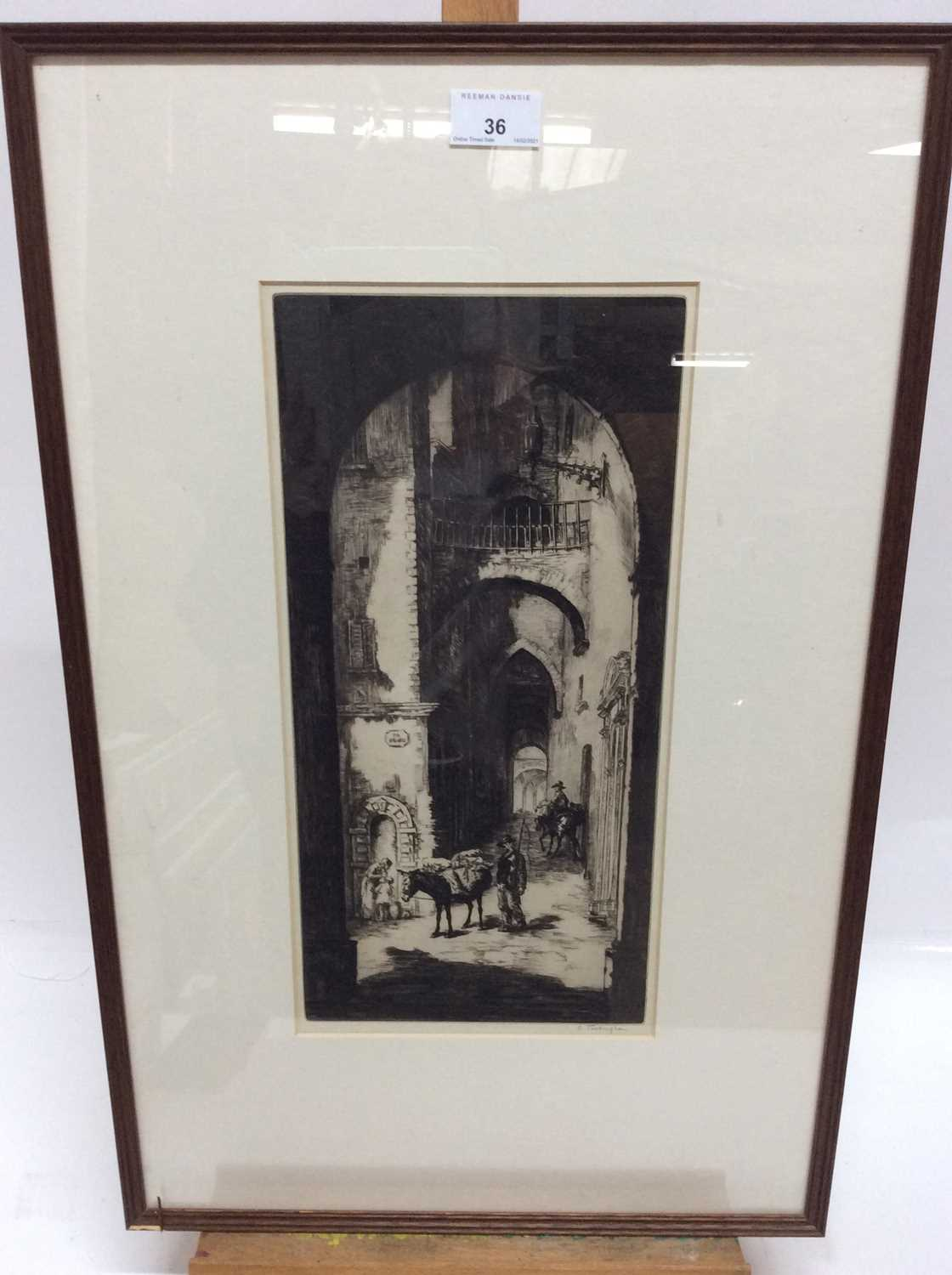 Sidney Tushingham (1884-1968) signed black and white etching - Continental Street, in glazed frame,