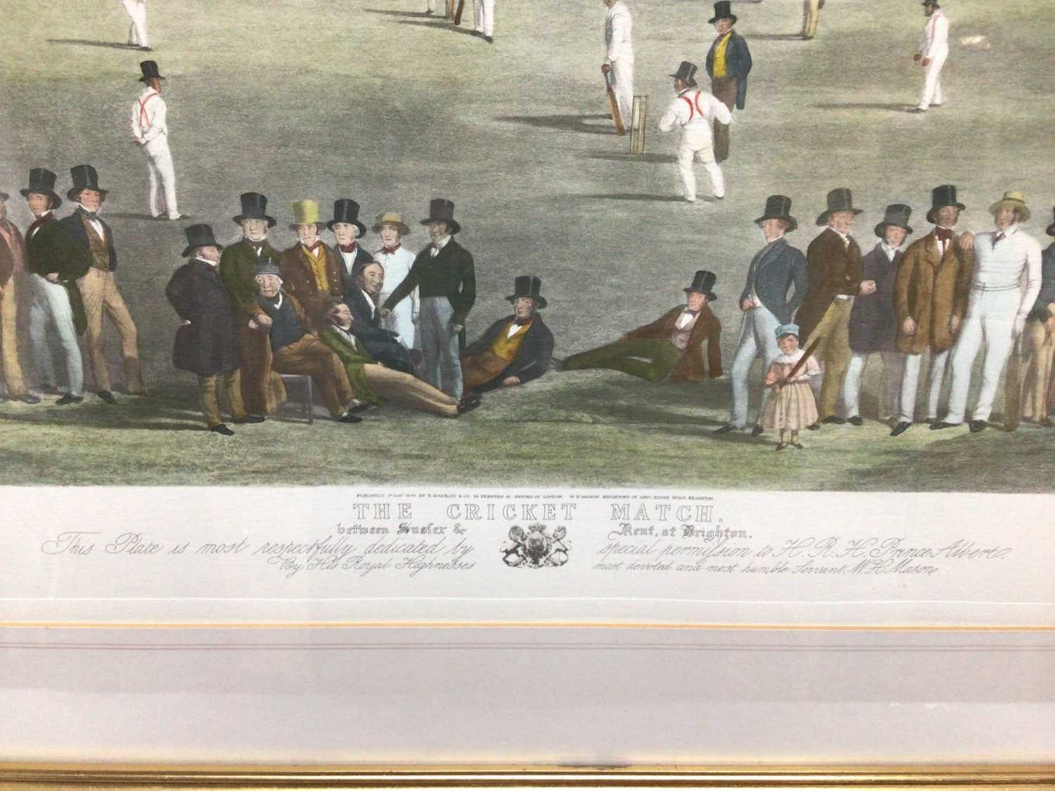 19th century-style coloured print - The Cricket Match between Sussex & Kent, at Brighton, 48cm x 66c - Image 3 of 8