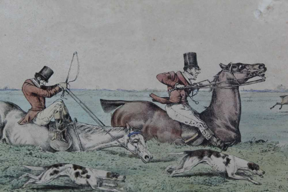 Henry Alken set of five early 19th century coloured prints - Notions, published 1831, in glazed oak - Image 13 of 14