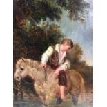 English School 19th Century A boy on his pony with his dog in a stream, oil on board, in painted fra