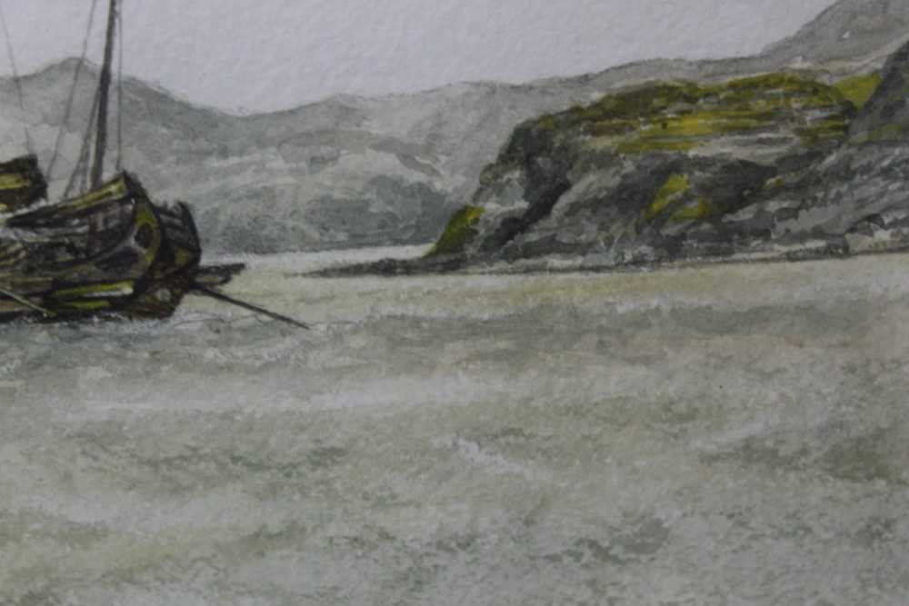 Sir Rutherford Alcock (1809-1897) pencil and watercolour - Junk off headland at the Woofoomun, - Image 4 of 8