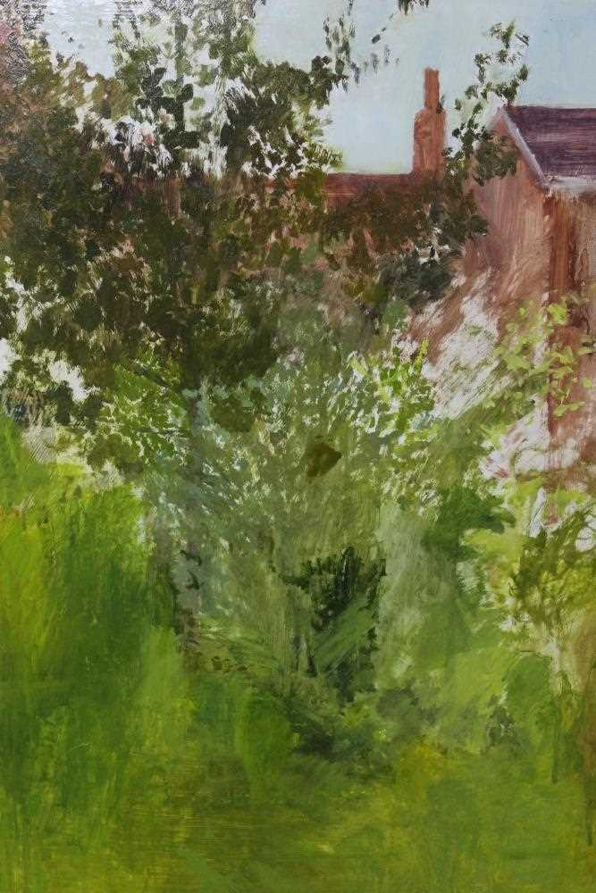 Pat Jourdan (Contemporary) oil on board, Back garden
