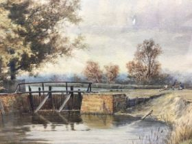 Charles Harmony Harrison (1842-1902) watercolour 'Byrons Pool, Cambridge, signed and inscribed