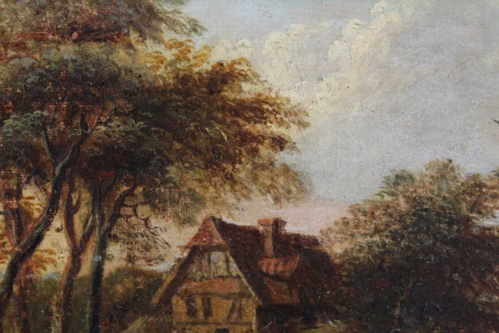 Nasmyth, 19th century, oil on board - figures before a country cottage, indistinctly signed, 14.5cm - Image 7 of 9
