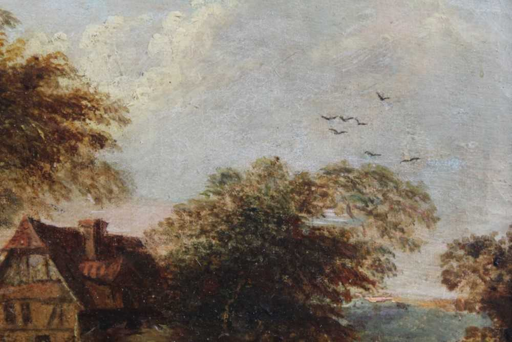 Nasmyth, 19th century, oil on board - figures before a country cottage, indistinctly signed, 14.5cm - Image 6 of 9