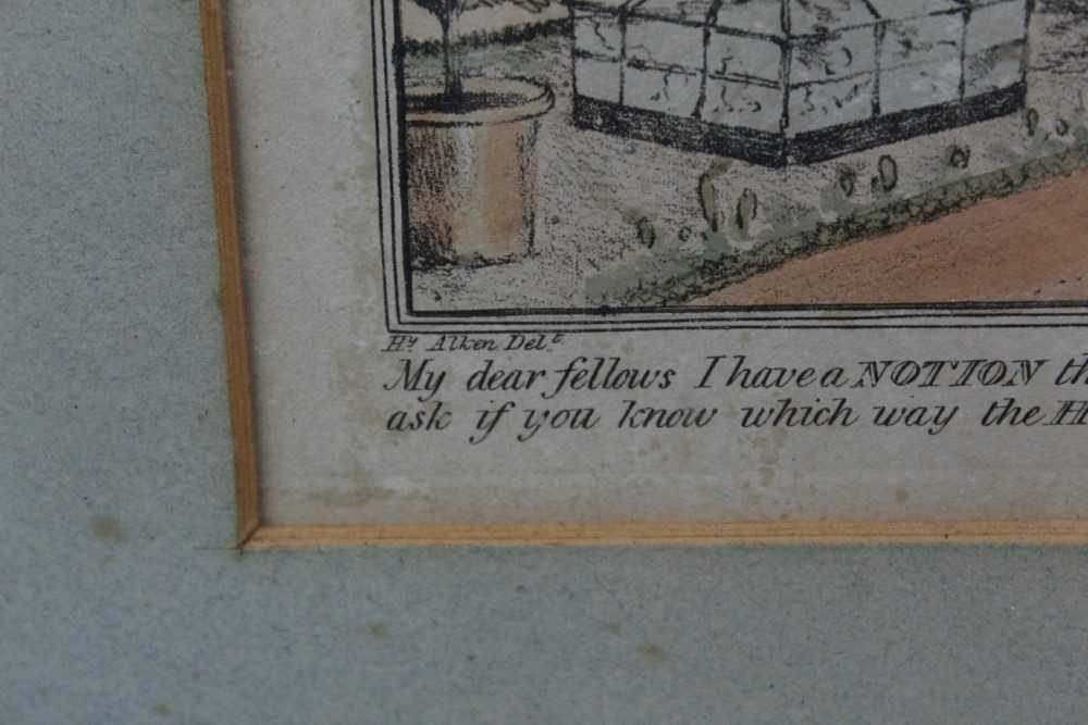 Henry Alken set of five early 19th century coloured prints - Notions, published 1831, in glazed oak - Image 3 of 14