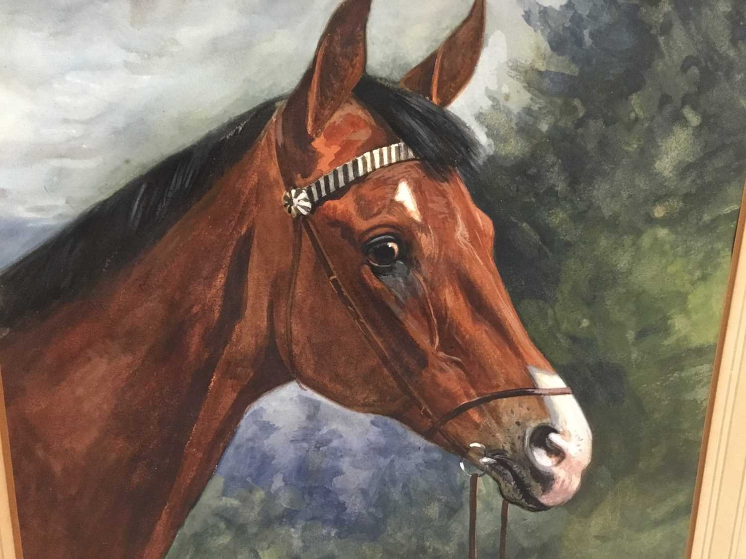 Karl Volkers (1868-1944), Gouache of horse, signed and dated 1893 - Image 3 of 5