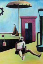 Ron Sims (1944-2014) oil on board - Drunk umbrella man