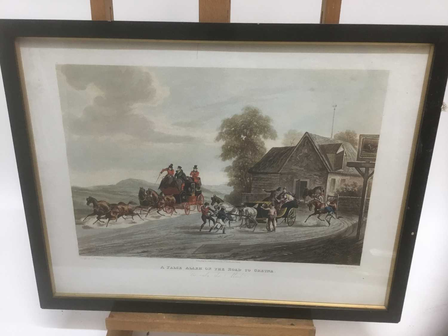 Pair of 19th century hand coloured aquatints by R. Reeves after C. Newhouse, coaching scenes entitle - Image 2 of 11