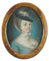 French School, 18th century, pair of pastel portraits of ladies in fashionable costume, oval glazed