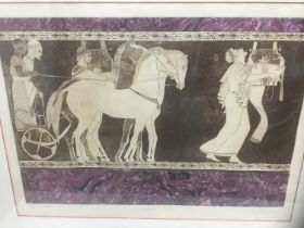 American School, 1980s, set of the three colour aquatints with marbled collage elements, Fireplace,