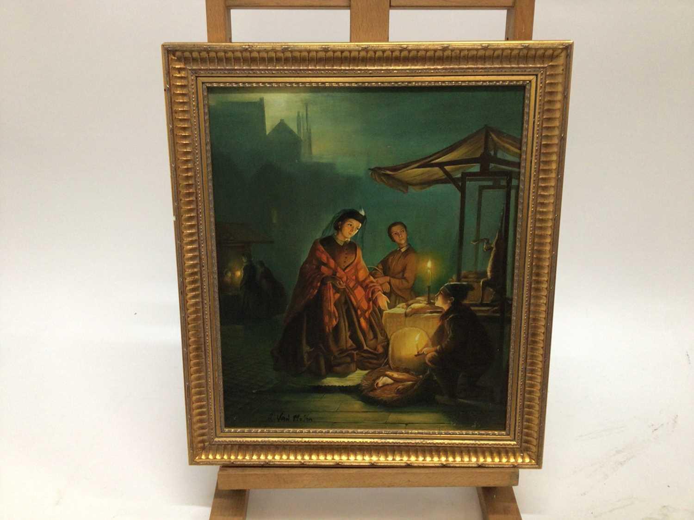 R, Van Molen, oil on panel, A moonlit scene in a Chinese market, in gilt frame. 36 x 30cm. - Image 2 of 4