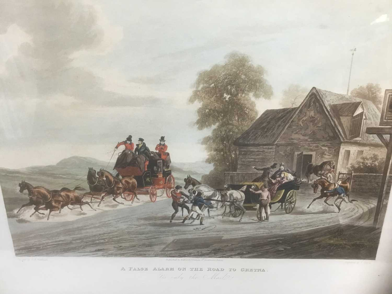 Pair of 19th century hand coloured aquatints by R. Reeves after C. Newhouse, coaching scenes entitle
