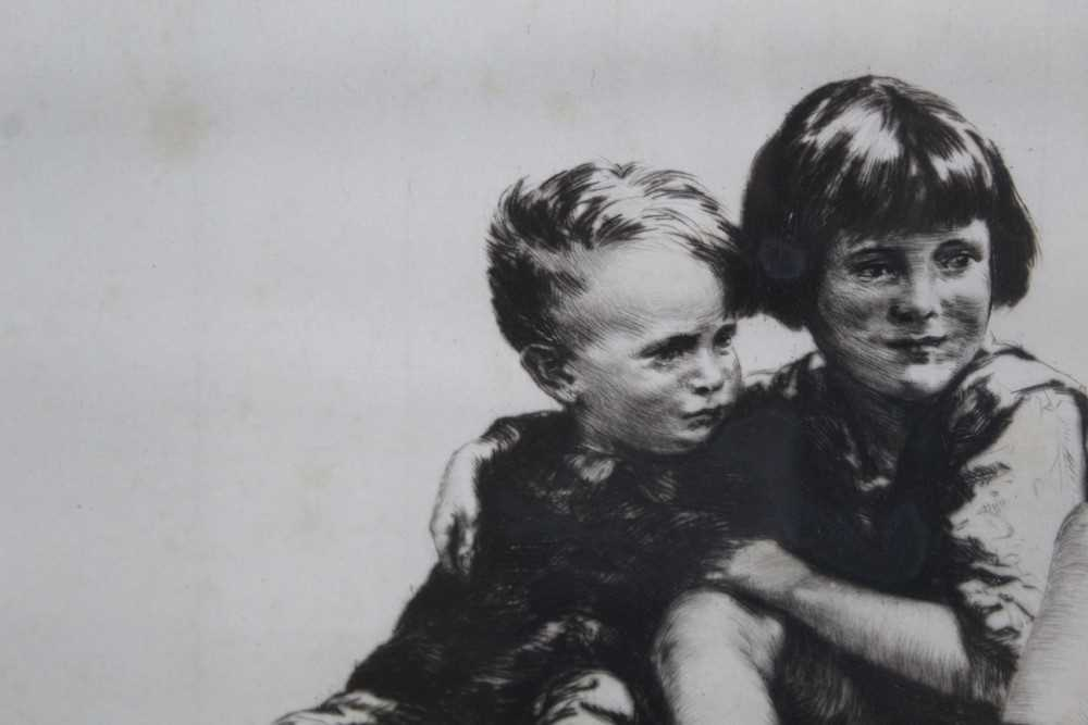 Sidney Tushingham (1884-1968) signed etching - two children, 26cm x 30cm, in glazed frame p - Image 7 of 10