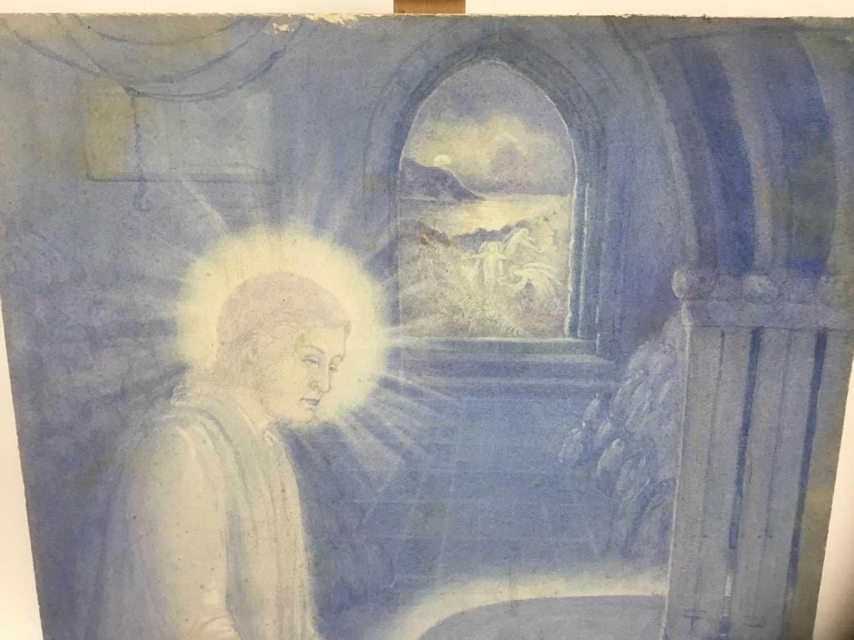 Late Victorian Pre-Raphaelite watercolour - religious figure in blue, unframed, 56cm x 45cm - Image 2 of 6