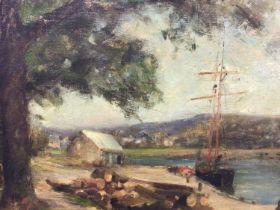 Manner of Harold Harvey oil on canvas, Harbout scene