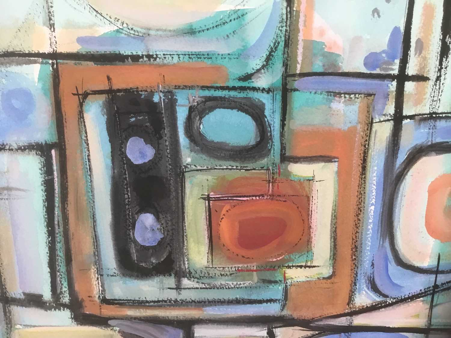 Manner of a Henry Cliffe (1919-1983) two watercolours on paper, abstract compositions - Image 3 of 7