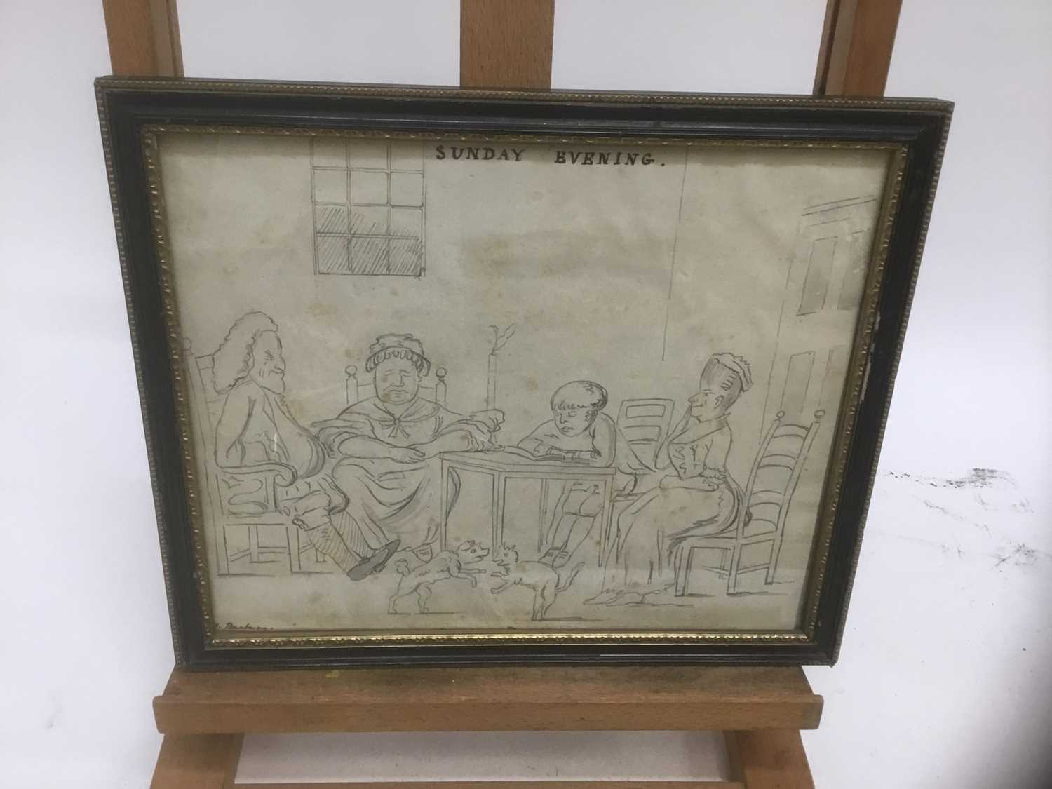 After Henry William: Bunbury (1750-1811) pen and ink sketch - Sunday Evening (copy after the engrav - Image 2 of 9