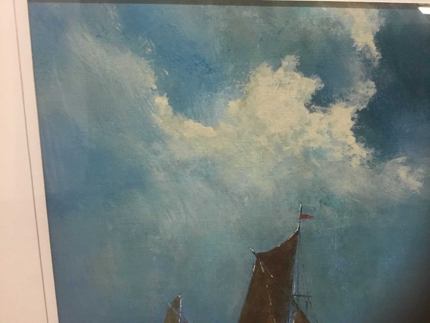 John Clarke, contemporary, oil on board - sailing barges, signed, 25cm x 36cm, in glazed frame - Image 5 of 7