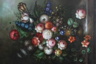 Good decorative oil on canvas - still life of summer flowers, in ebonised frame