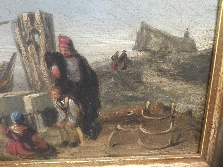 19th century oil on panel coastal scene - Image 6 of 13