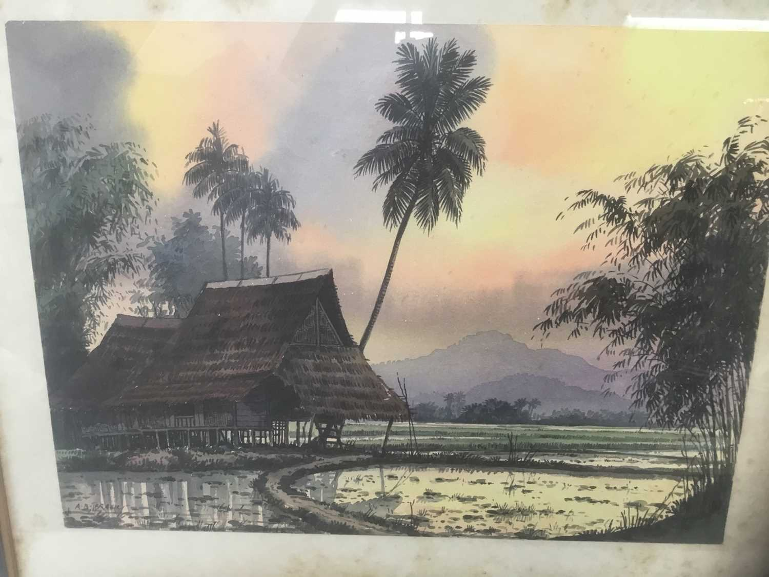 Abu Baker Ibrahim (1925-1977) pair of watercolours, Malayan landscapes, signed - Image 2 of 8