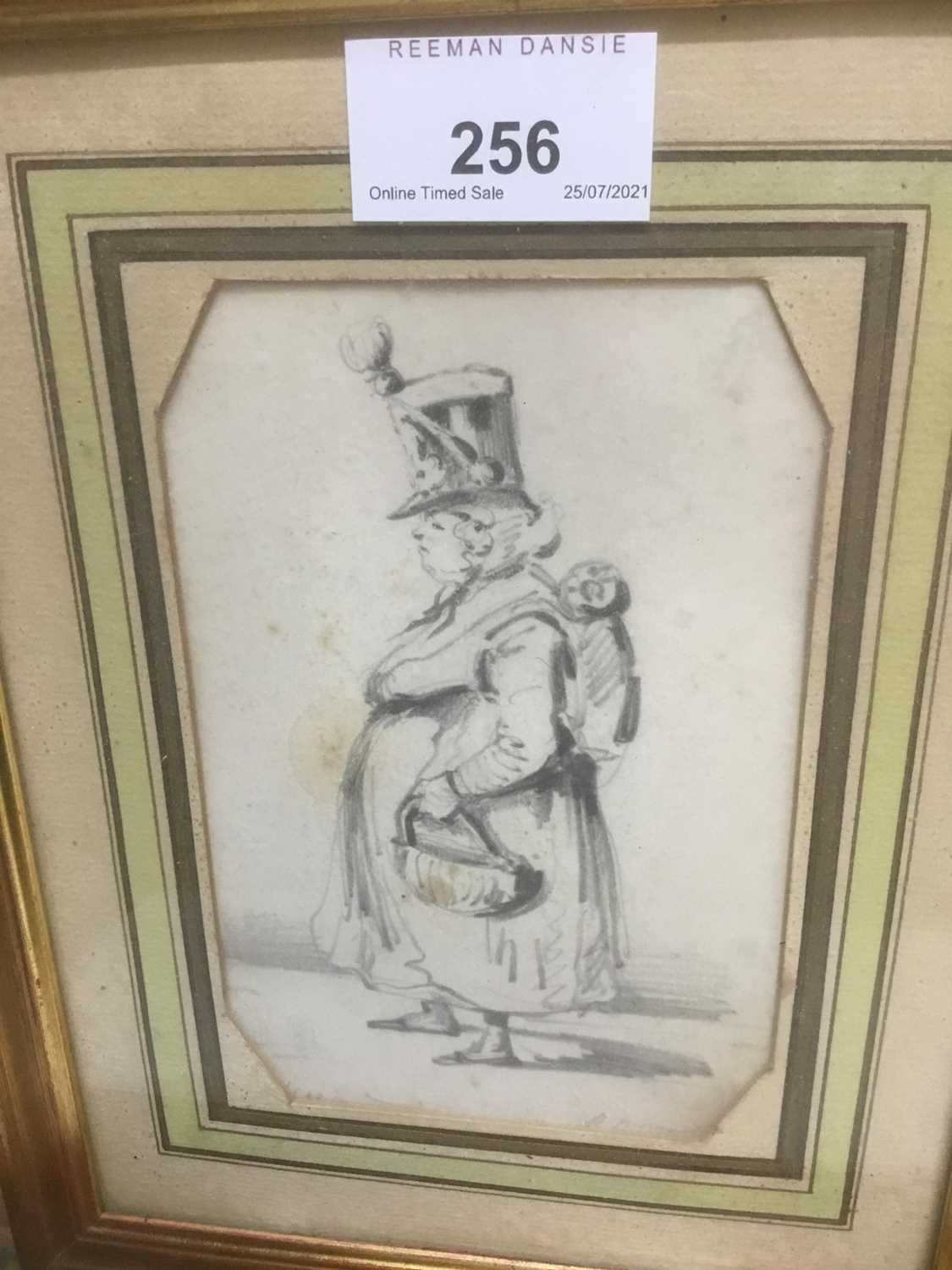 Henry Bonaventure Monnier (1805-1877) three pencil sketch caricatures of figures, tow signed, 14.5cm - Image 2 of 9