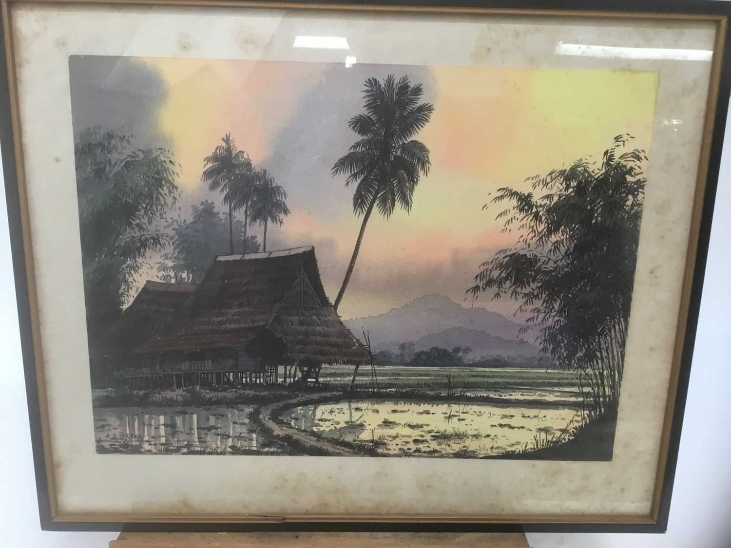 Abu Baker Ibrahim (1925-1977) pair of watercolours, Malayan landscapes, signed