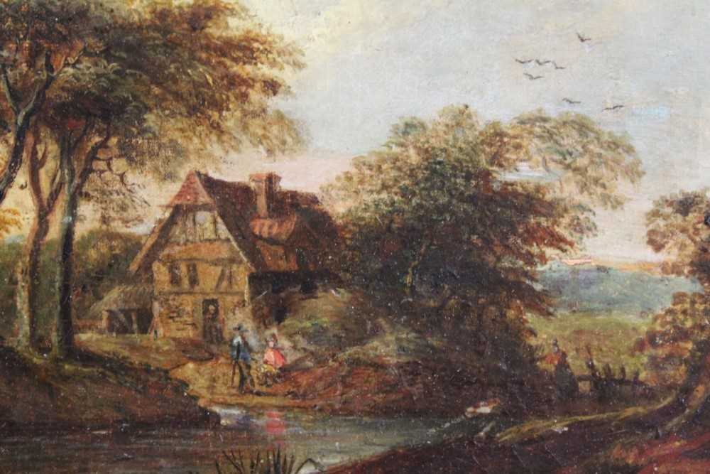 Nasmyth, 19th century, oil on board - figures before a country cottage, indistinctly signed, 14.5cm
