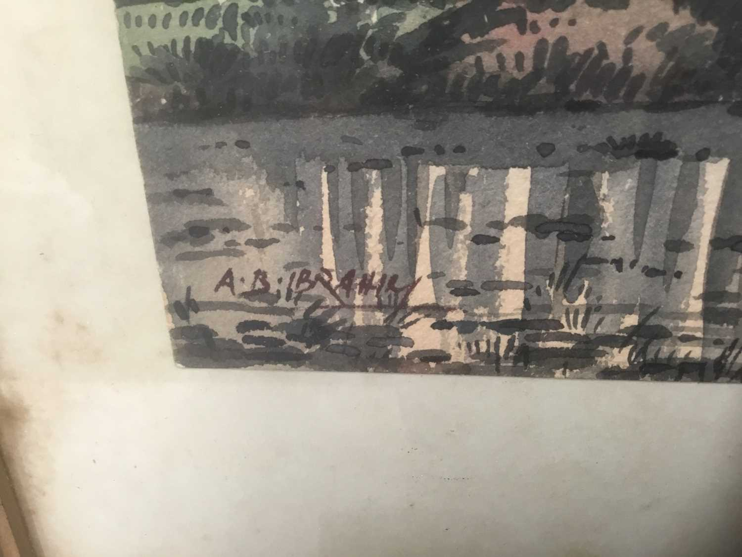 Abu Baker Ibrahim (1925-1977) pair of watercolours, Malayan landscapes, signed - Image 3 of 8