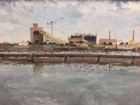 Vladimir Sosnovski (1921-1990) oil on canvas laid onto board, industrial landscape