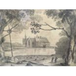 19th century French abbey grisaille watercolour by G W Smith (details of abbey on back)
