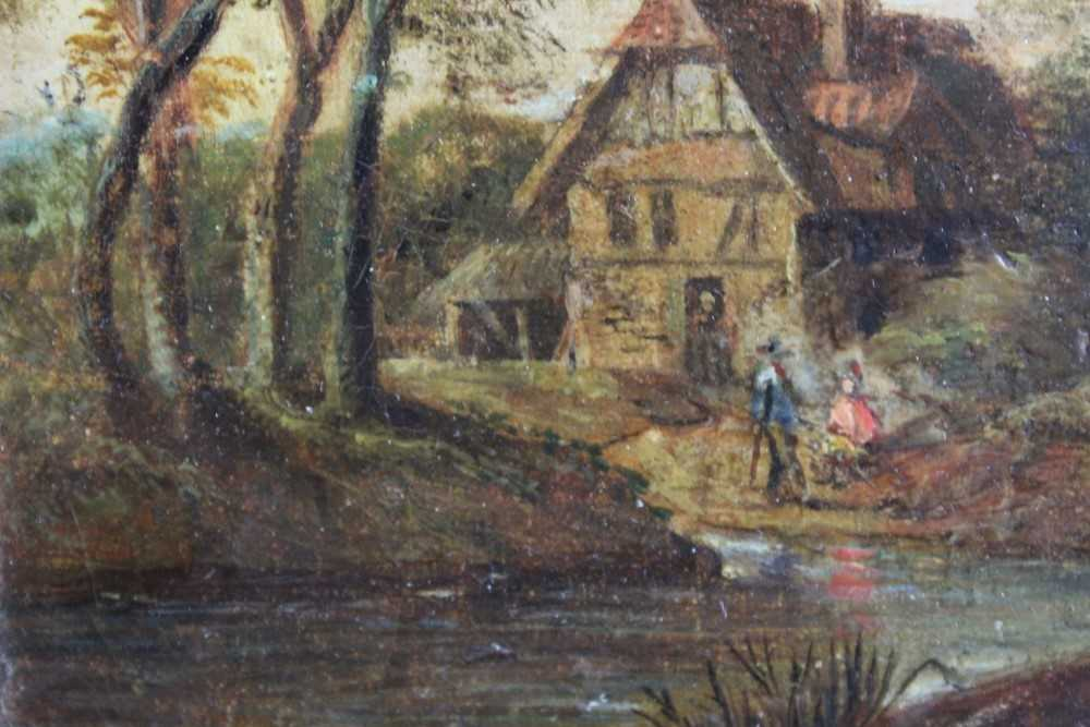 Nasmyth, 19th century, oil on board - figures before a country cottage, indistinctly signed, 14.5cm - Image 4 of 9