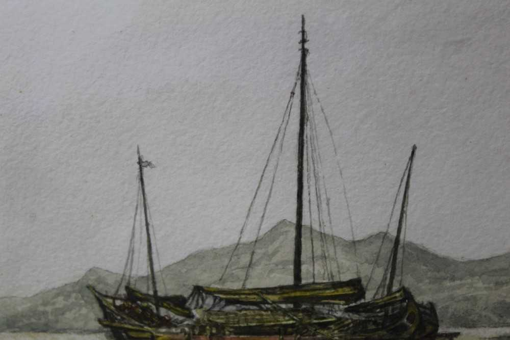 Sir Rutherford Alcock (1809-1897) pencil and watercolour - Junk off headland at the Woofoomun, - Image 6 of 8