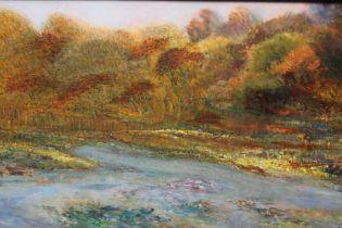 Peter Jander (b.1954) oil on board - Extensive Landscape, signed, 74cm x 148cm, framed