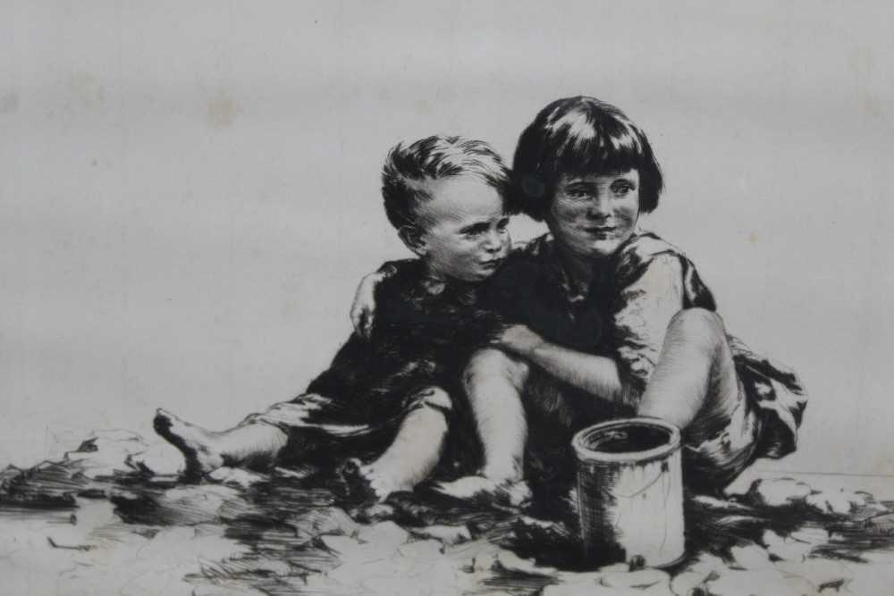 Sidney Tushingham (1884-1968) signed etching - two children, 26cm x 30cm, in glazed frame p