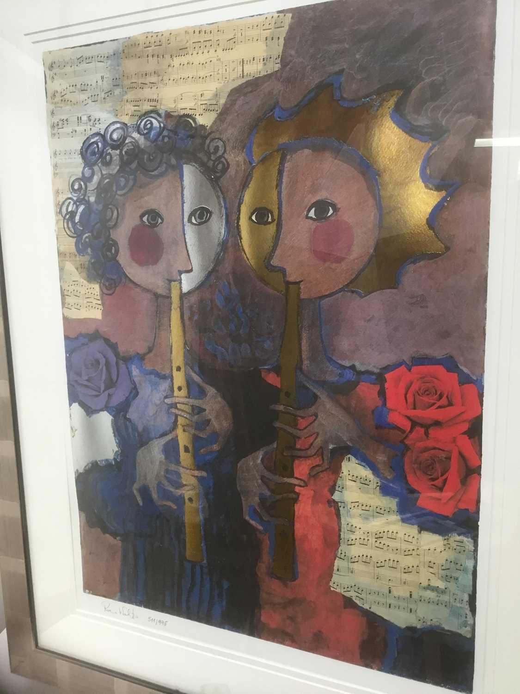 Rosina Wachrmeister (b. 1939) print 'Two girls playing flute
